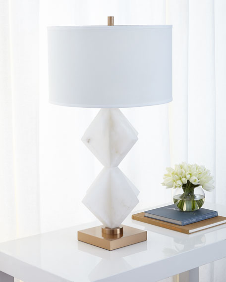 Triangular Stacked Alabaster Table Lamp
