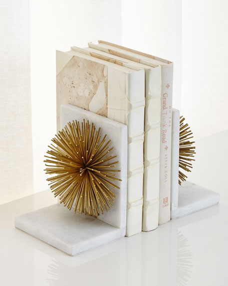 John-Richard Collection Gold Burst on White Marble Bookends