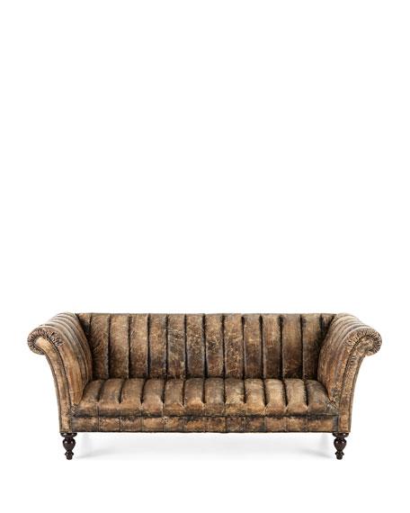 Safari Channel-Tufted Leather Sofa