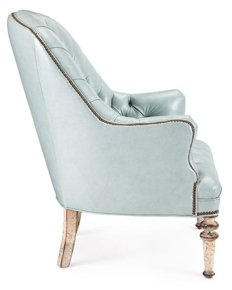 Mint Tufted-Leather Chair