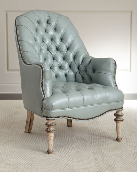 Mint Tufted Leather Chair