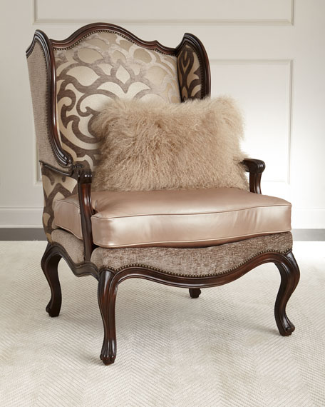 Massoud Charna Fabric & Leather Wing Chair