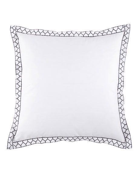 White European Sham with Ink Stitching