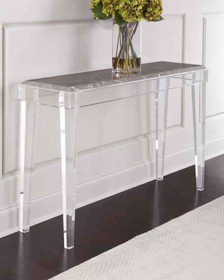 Interlude home jeffy marble acrylic console neiman marcus for Consolle plexiglass design