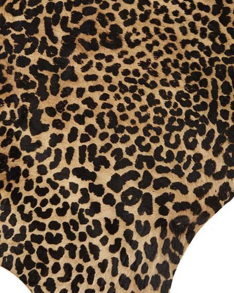 Alida Leopard-Print Hairhide Rug, 6' x 7'