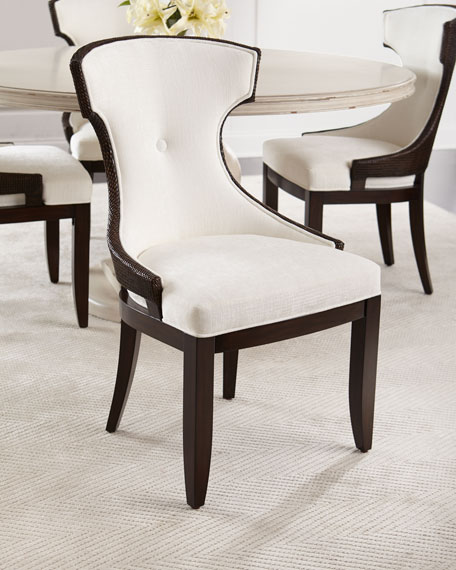 Palecek Wanda Dining Table & Rhoda Wicker Dining