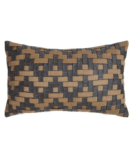 Elaine Smith Smoky Basketweave Outdoor Pillow