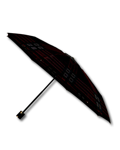 Trafalgar Packable Check Umbrella, Fuchsia/Black
