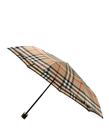 Sustainable Trafalgar Check Folding Umbrella, Camel