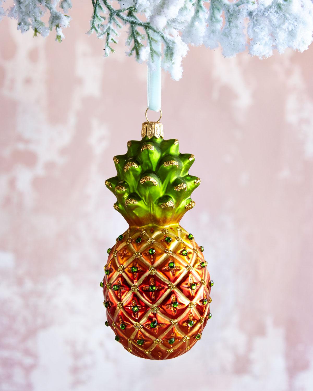 pineapple glass christmas ornament