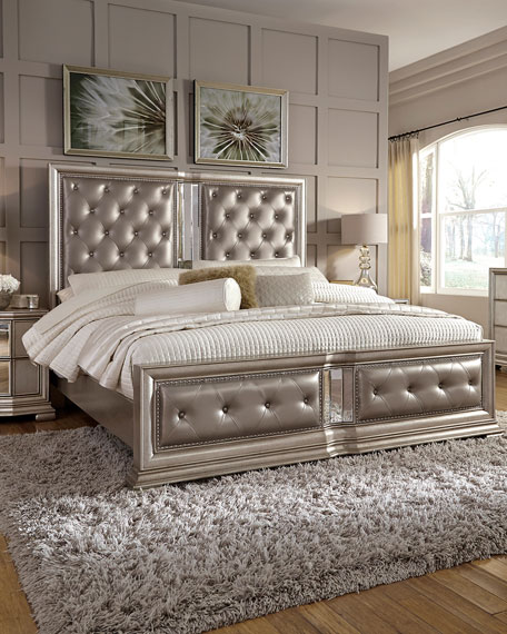 Vivian Tufted King Bed | Neiman Marcus