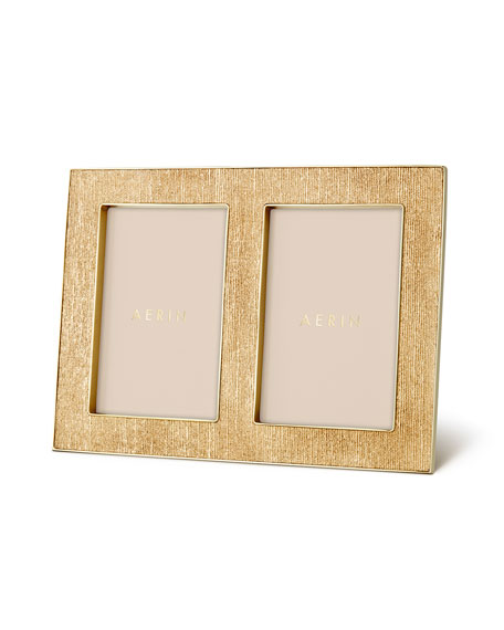 AERIN Classic Gold Linen Double Frame