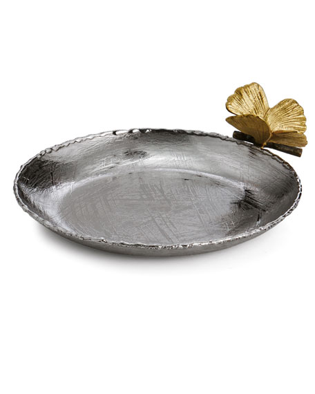 Butterfly Ginkgo Round Trinket Tray