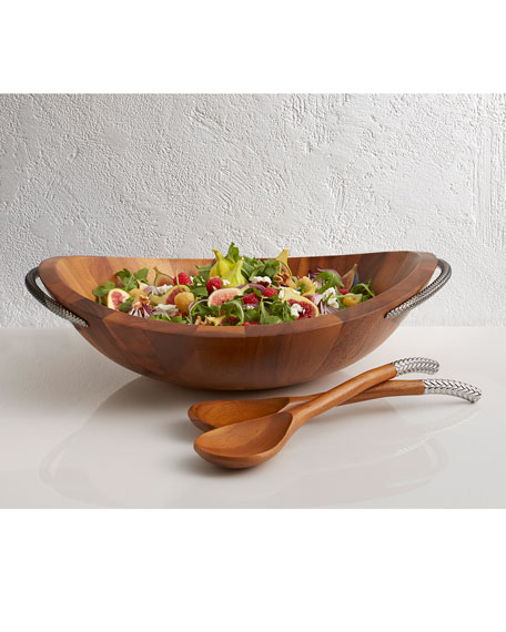 Nambe Braid Wood Salad Bowl with Servers