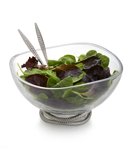 Braid Glass Salad Bowl with Servers