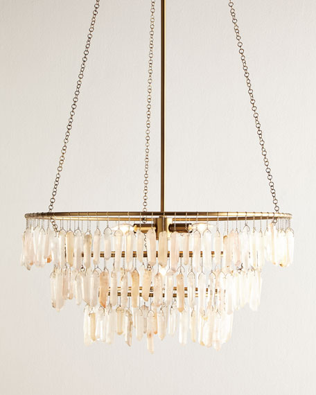 Quartz drop 4 light chandelier