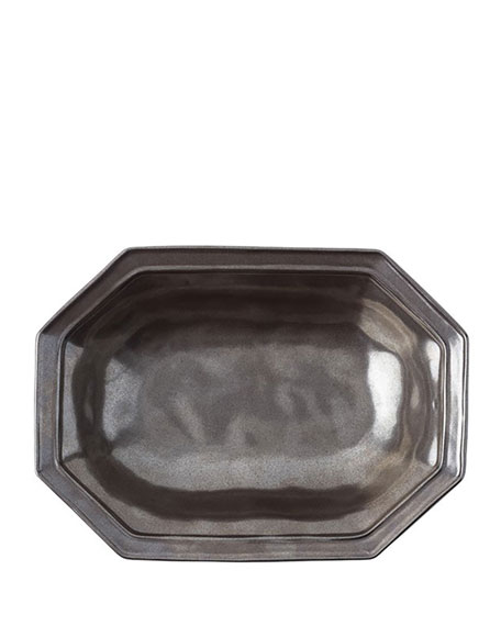 "Pewter Stoneware 12"" Octagonal Serving Bowl"