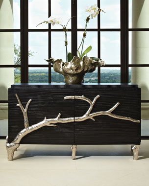 Global Views Silver Branch 2 Door Console