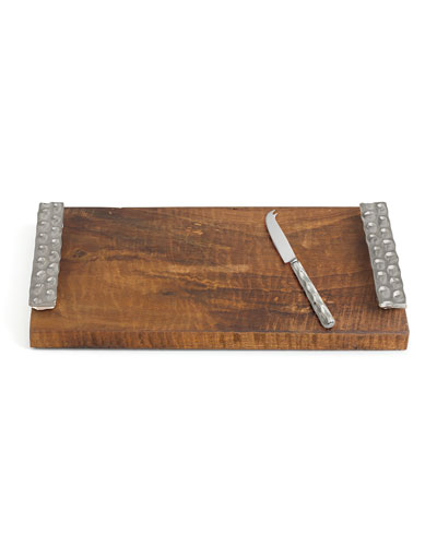 Truro Platinum Walnut Cheese Tray with Knife