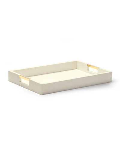 Cream Faux-Shagreen Desk Tray