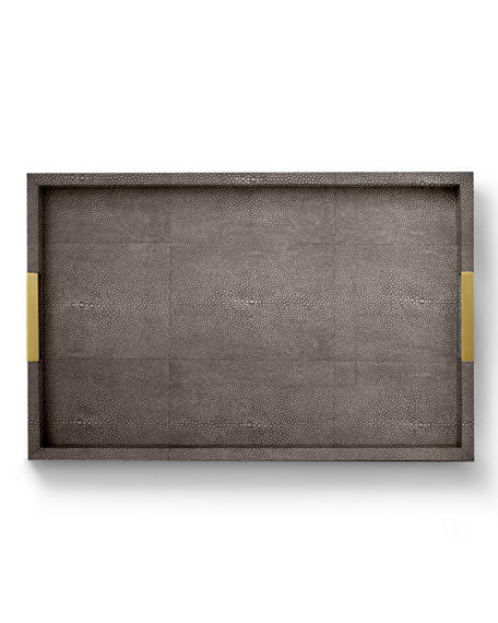 Chocolate Faux-Shagreen Desk Tray