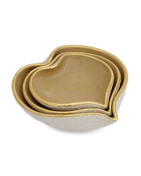 AERIN Tulip Nesting Heart Dishes, 3-Piece Set