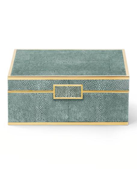 AERIN Small Emerald Shagreen Jewelry Box Neiman Marcus