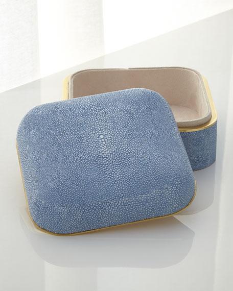 Blue Shagreen Square Box