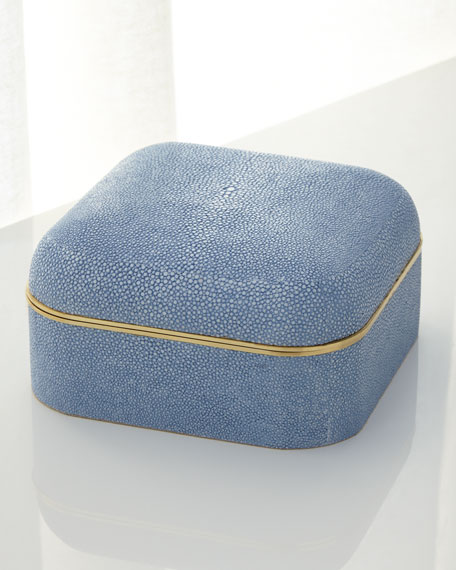 Blue Faux-Shagreen Square Box
