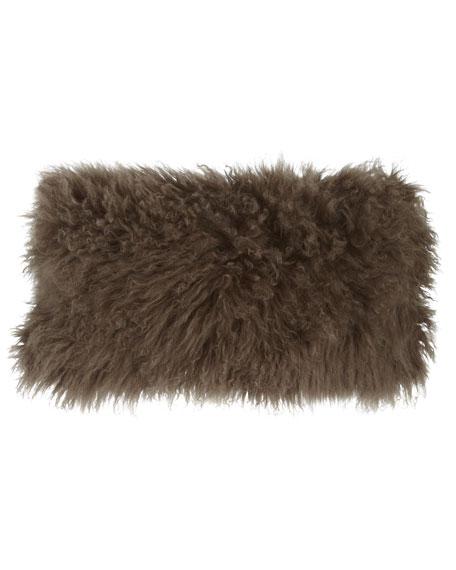 "Flokati Wool Pillow, 11"" x 22"""