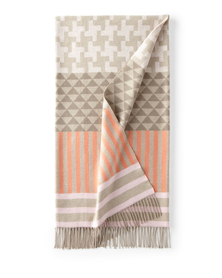 Orange/Taupe Geometric Throw