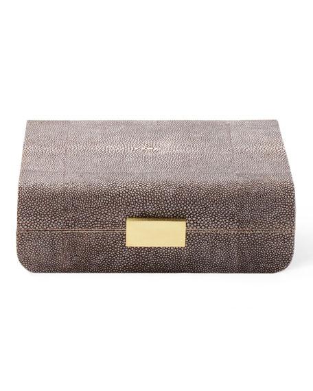 AERIN Small Chocolate FauxShagreen Jewelry Box Neiman Marcus
