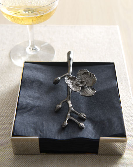 Black Orchid Napkin Holder