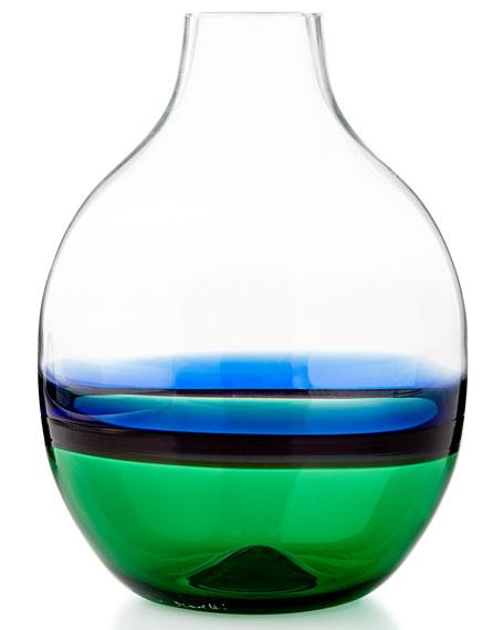 Glass Vase, Green/Blue