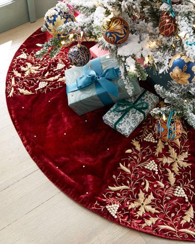 Burgundy Velvet Christmas Tree Skirt