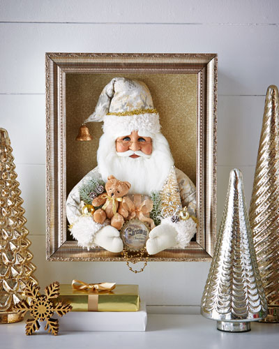 Cream Vintage Santa Shadowbox