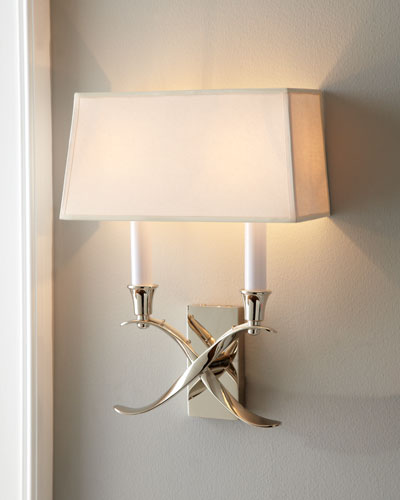 Cross Bouillotte Small Polished-Nickel Sconce