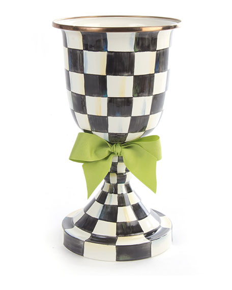 MacKenzie-Childs Courtly Check Pedestal Vase with Green Bow