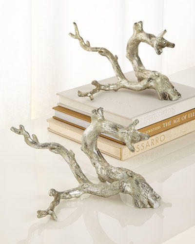 Antiqued-Silver Just Twigs Sculpture, Set of 2