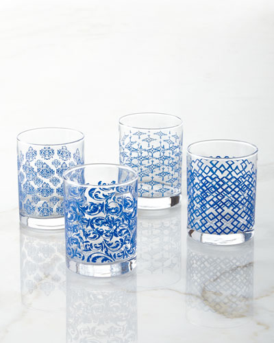 Assorted Print Double Old-Fashioneds, 4-Piece Set