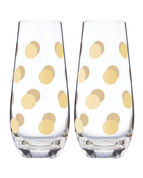 kate spade new york Pearl Place Stemless Champagne Glasses, Set of 2