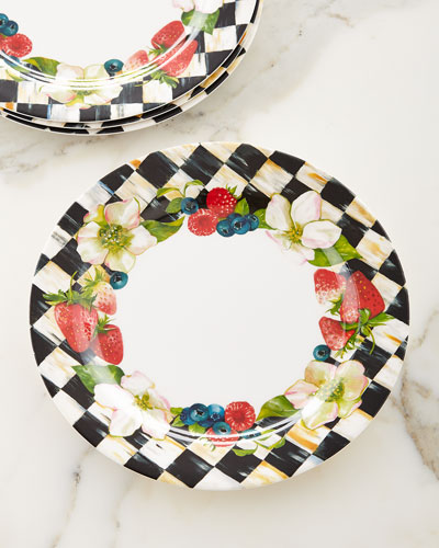 Berries & Blossoms Melamine Dinner Plates, Set of 4
