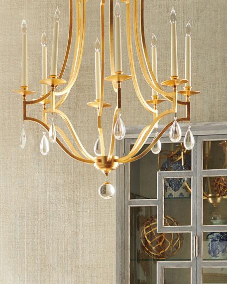 Gold Leaf & Crystal 8-Light Chandelier