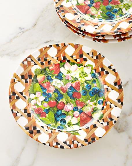 MacKenzie-Childs Berries & Blossoms Melamine Buffet Plates, Set