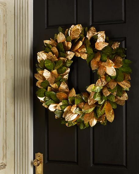 Gold & Glitter Magnolia-Leaf Wreath