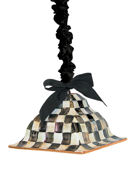 MacKenzie-Childs Courtly Check Square Hanging Lamp and Matching