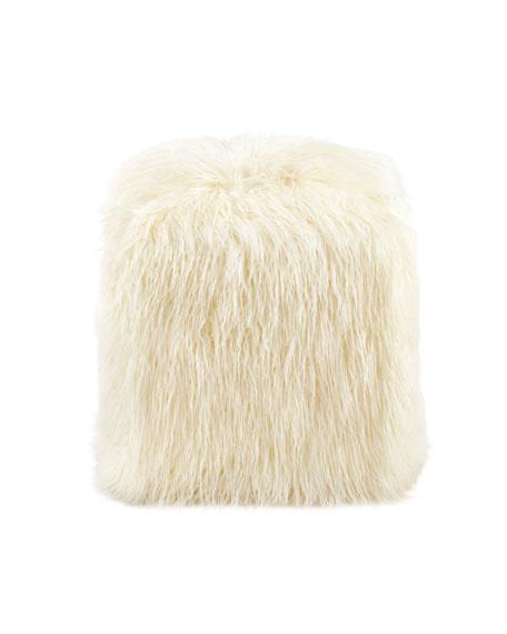 Fabulous Furs Ivory Mongolian Lamb Faux-Fur Pouf