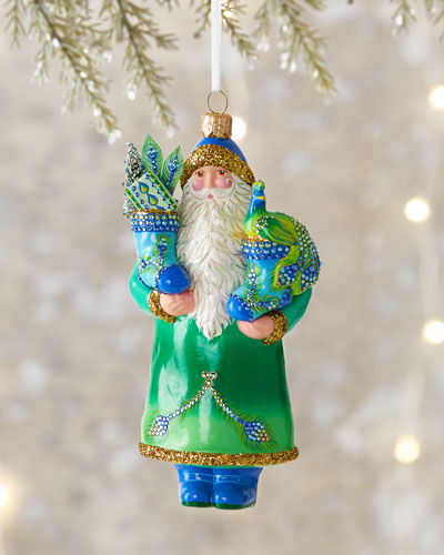 Santa with Stockings Christmas Ornament