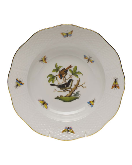 Herend Rothschild Bird Motif 4 Rim Soup Plate