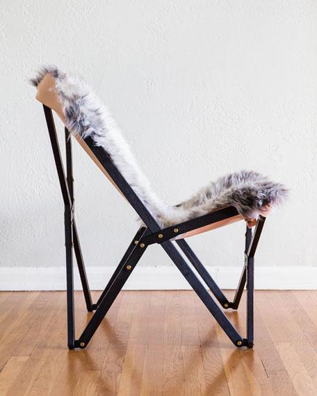 Dollie Noir Silver Blue Sheepskin Chair